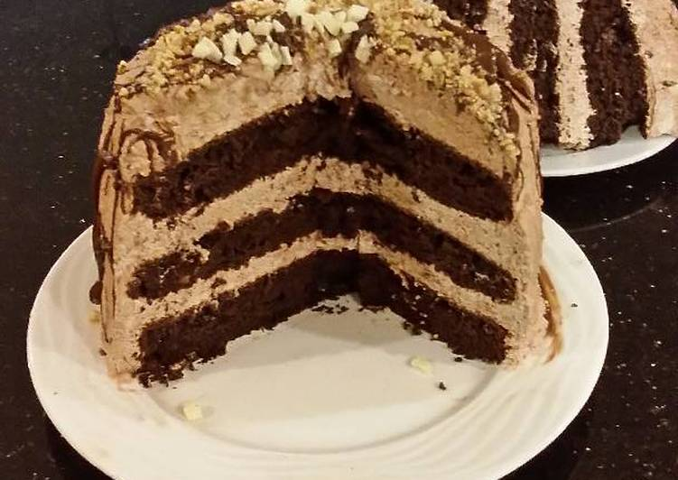 Chocolate Layer Cake with Whipped Hazelnut Cream Filling and Frosting