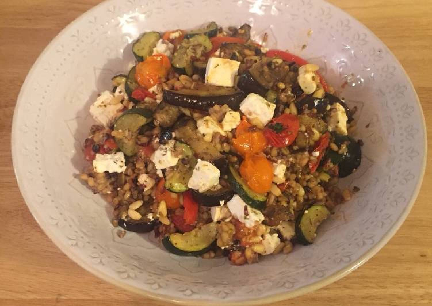Roasted veg with grains and feta