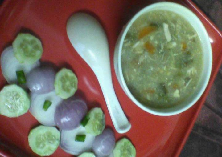 Healthy egg chicken soup