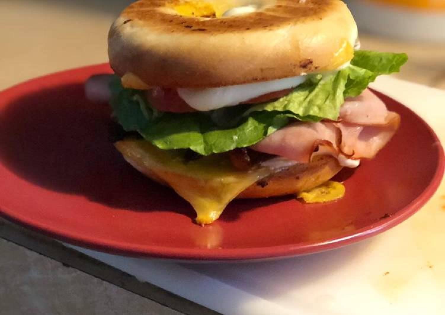 Roasted Bagel: stacked sandwich