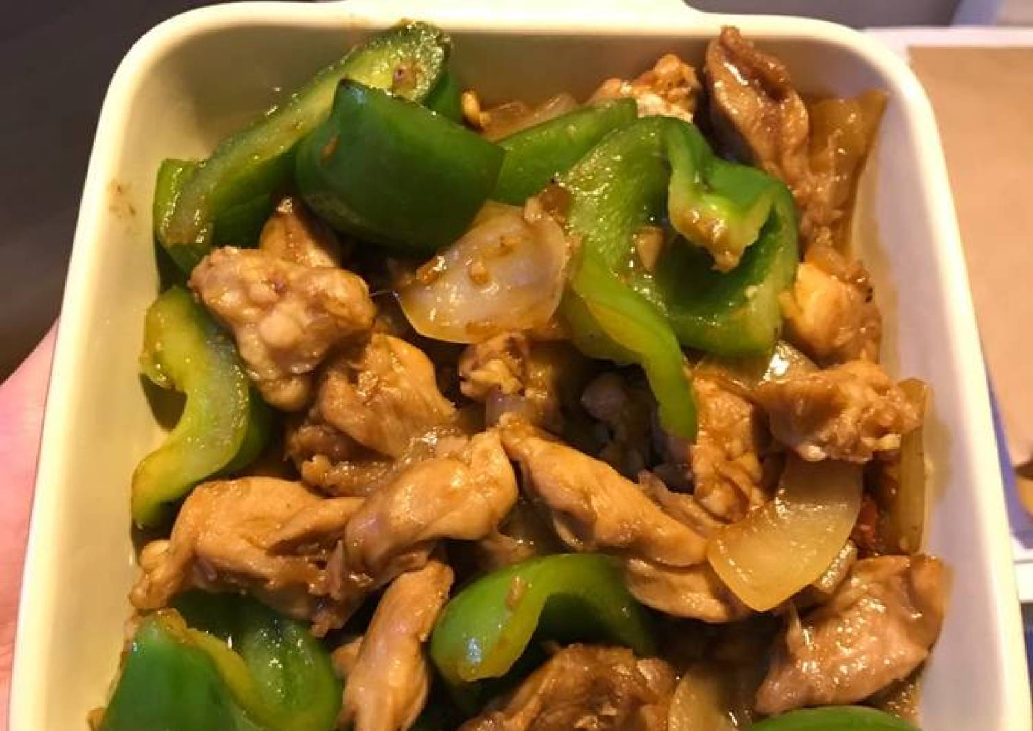 Spicy soy sauce chicken with onion and green pepper