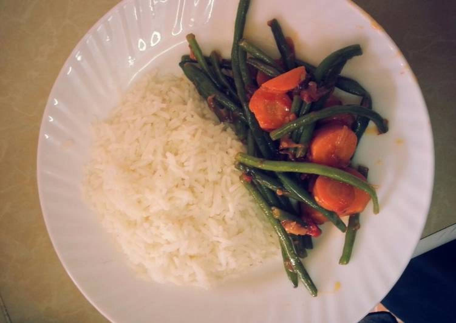 Rice and French beans
