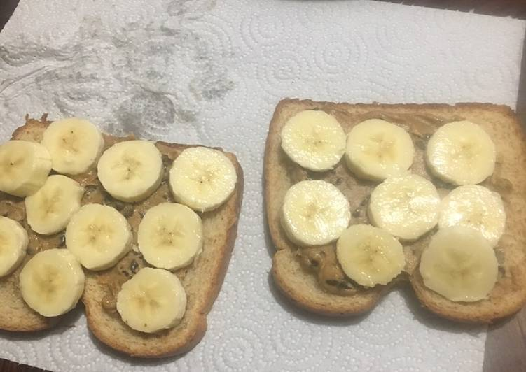 Chocolate chip,pb & banana sandwiches