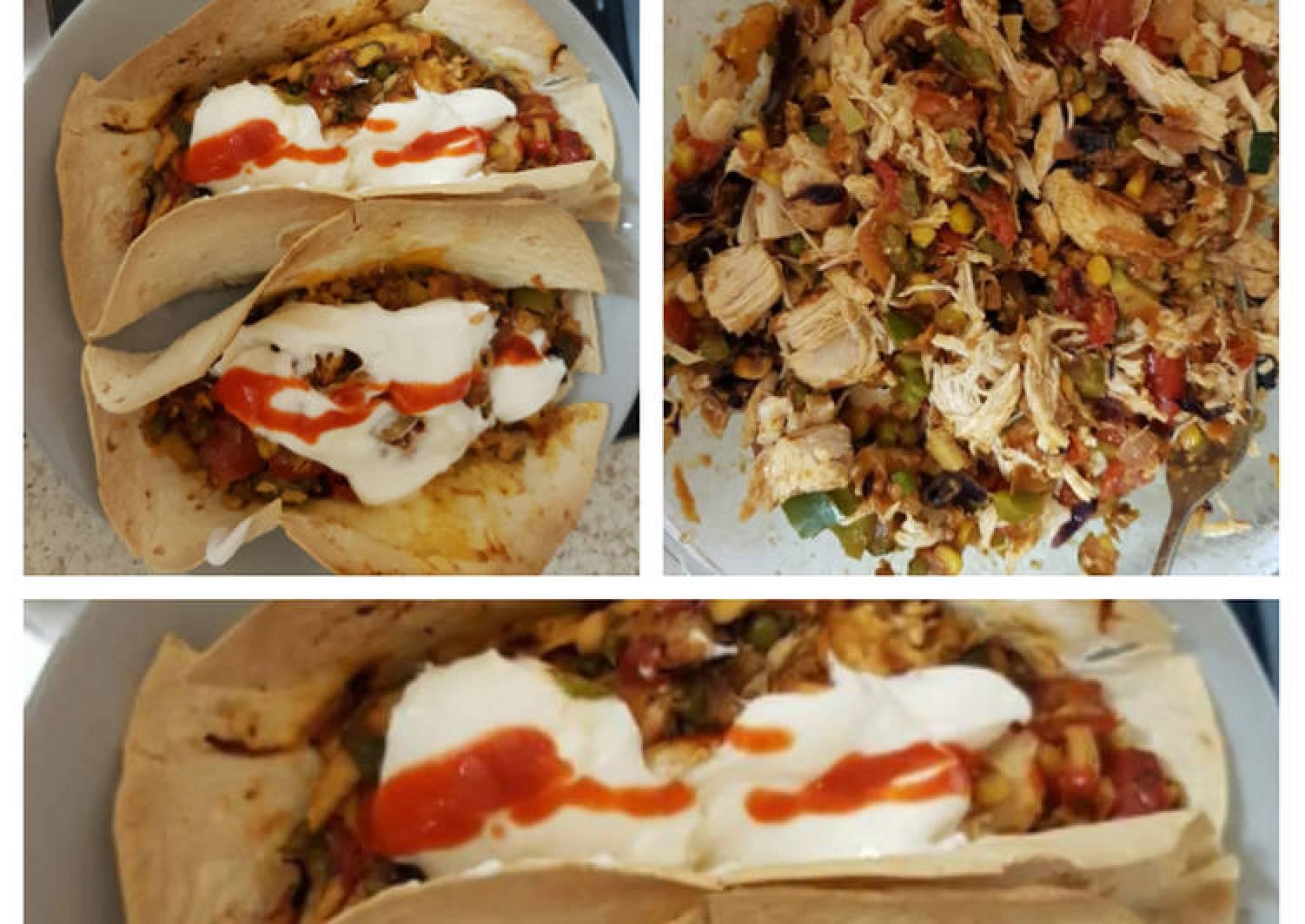 My Large taco wraps chicken, chilli, +Veg
