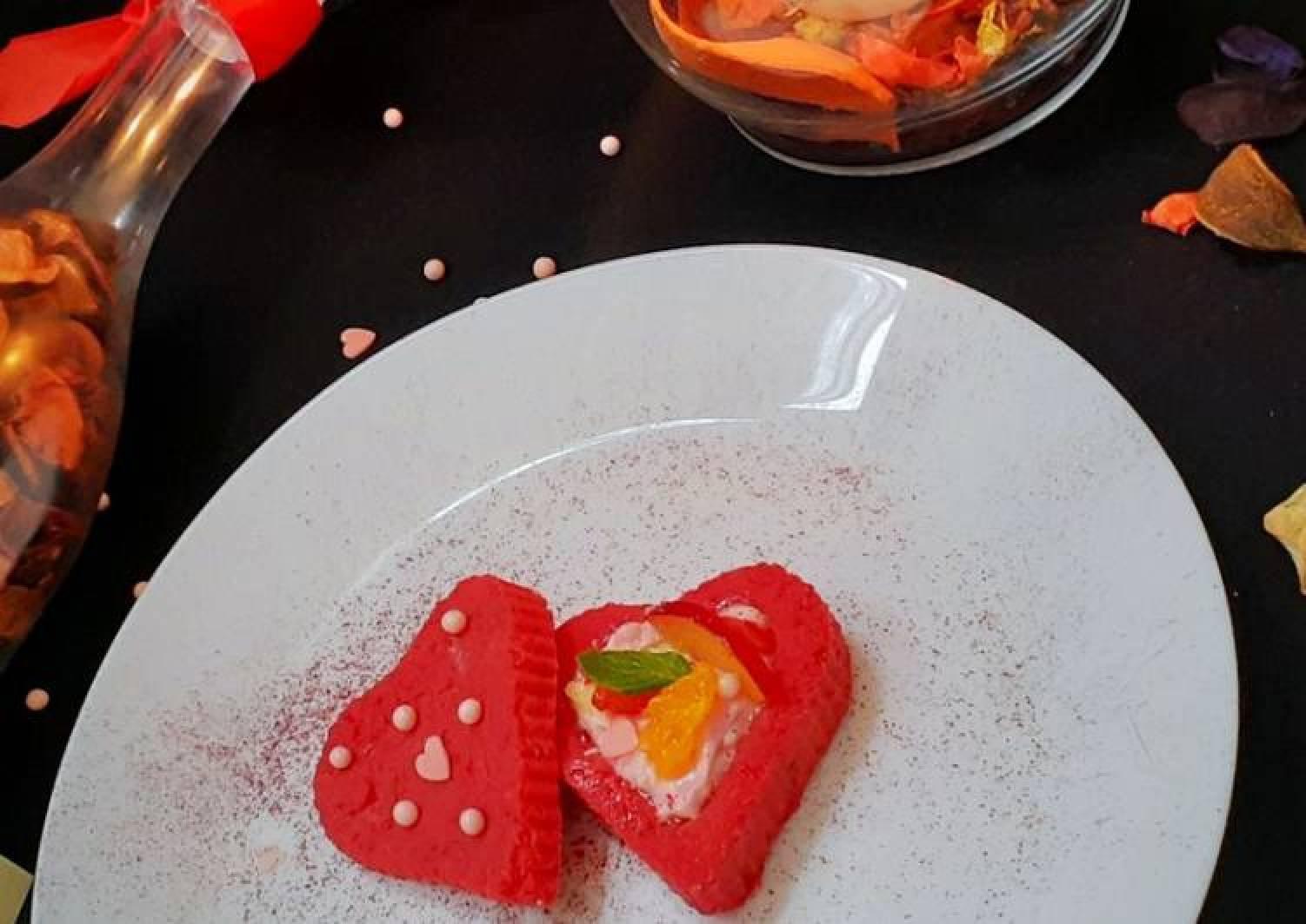 Red velvet kalakand tart with Beetroot Moose &Fresh Fruit