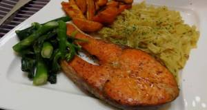 Dried Scallop Pasta With Baked Salmon Steak And Baked Sweet Potato In Coconut Oil