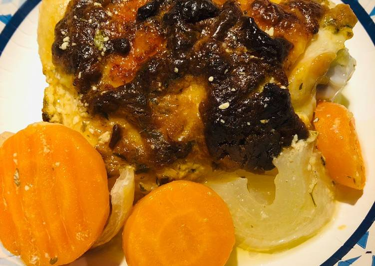 Roasted Dijon Chicken  with Carrots  and Onions