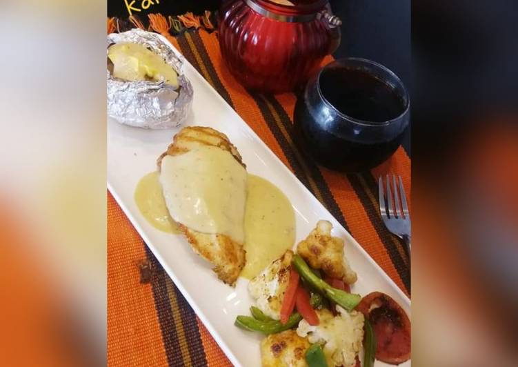 Chicken Steak with white sauce, Finding Healthy Fast Food