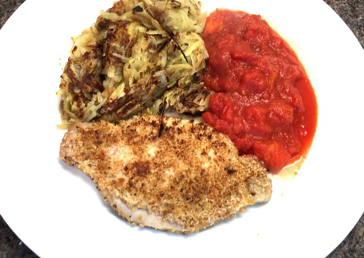 Pork Snitzel with Pan Fried Rosti & Tomato