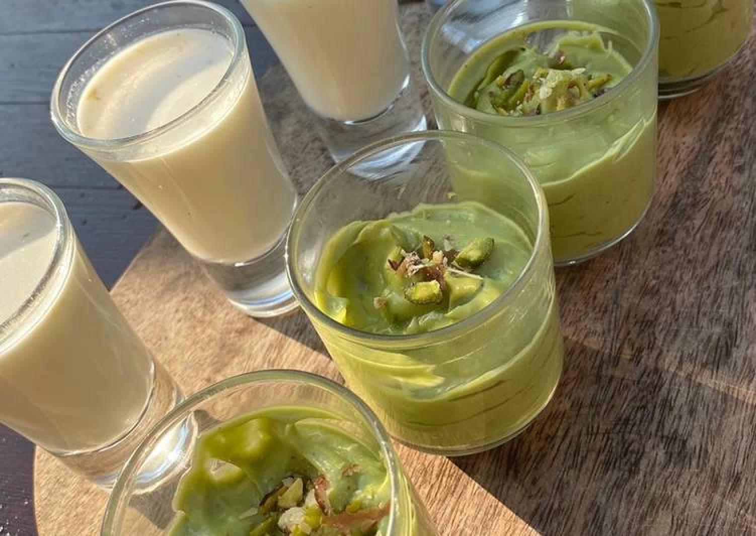 Avocado, cardamom and pistachio mousse