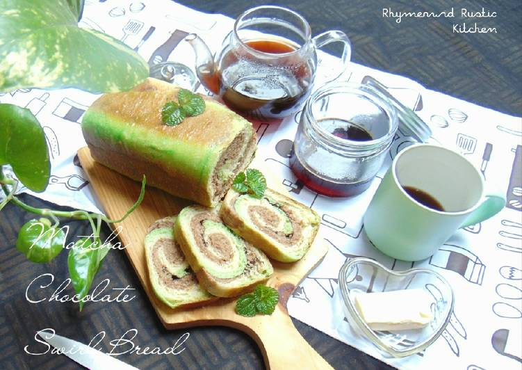 Matcha Chocolate Swirl Bread with Tangzhong