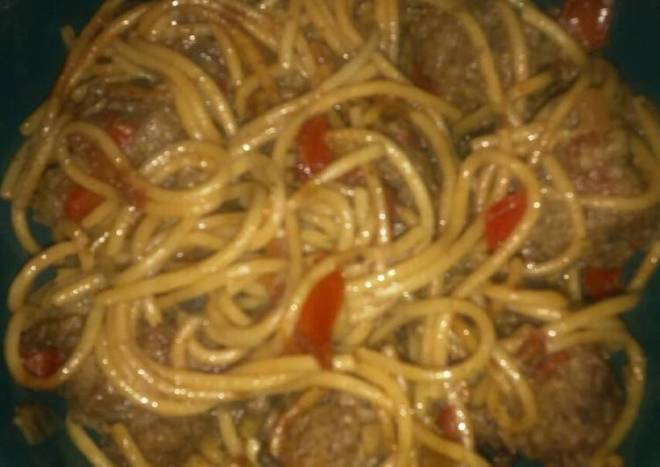 Soy Spaghetti Meatballs,& Peppers