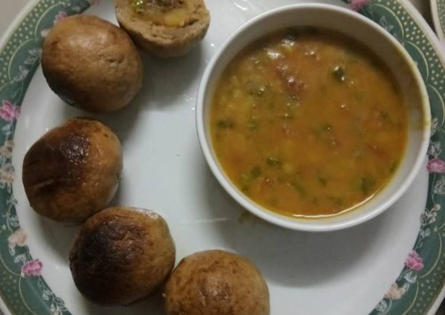 Healthy dal and stuffing baati