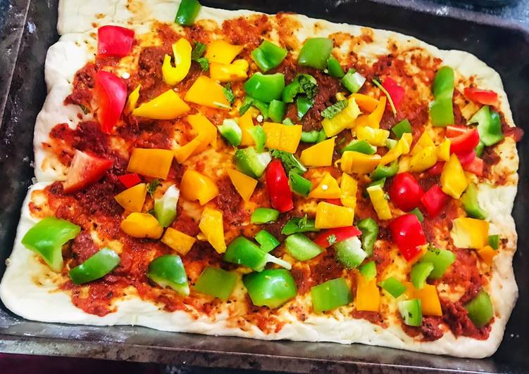 Veggie Loaded pizza with homemade dough