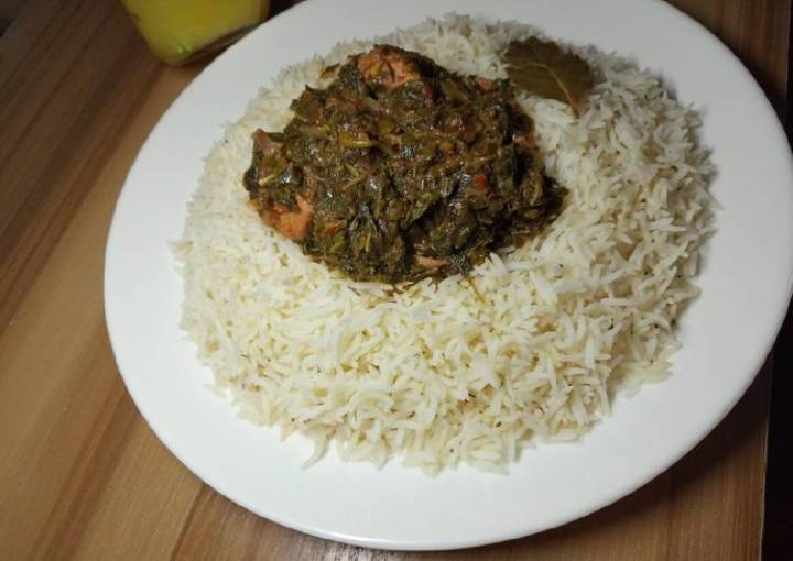 White rice with chicken vegetable soup