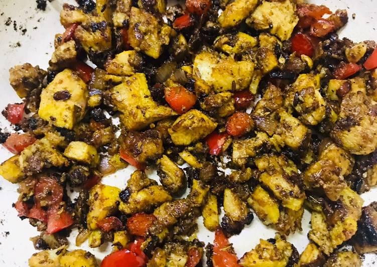 Red bell pepper & chicken fry#Ramzan Special !!