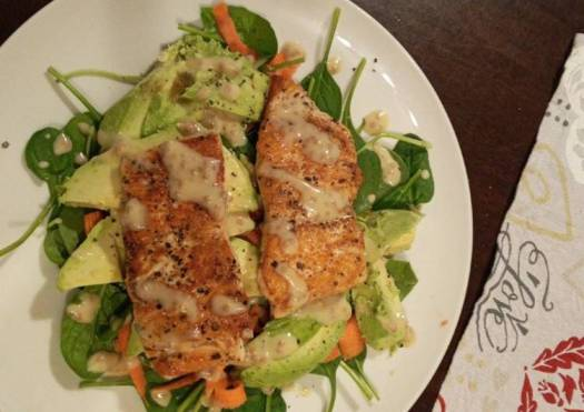 Pan fried salmon and avocado salad