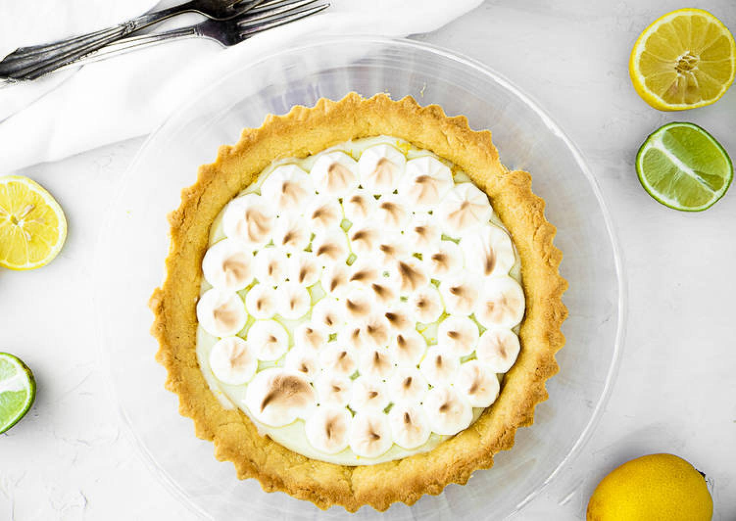 Lime and lemon tart