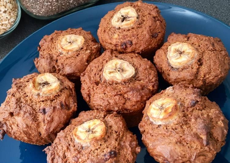 Muffins banane - chocolat - beurre de cacahuète (vegan 🌱)