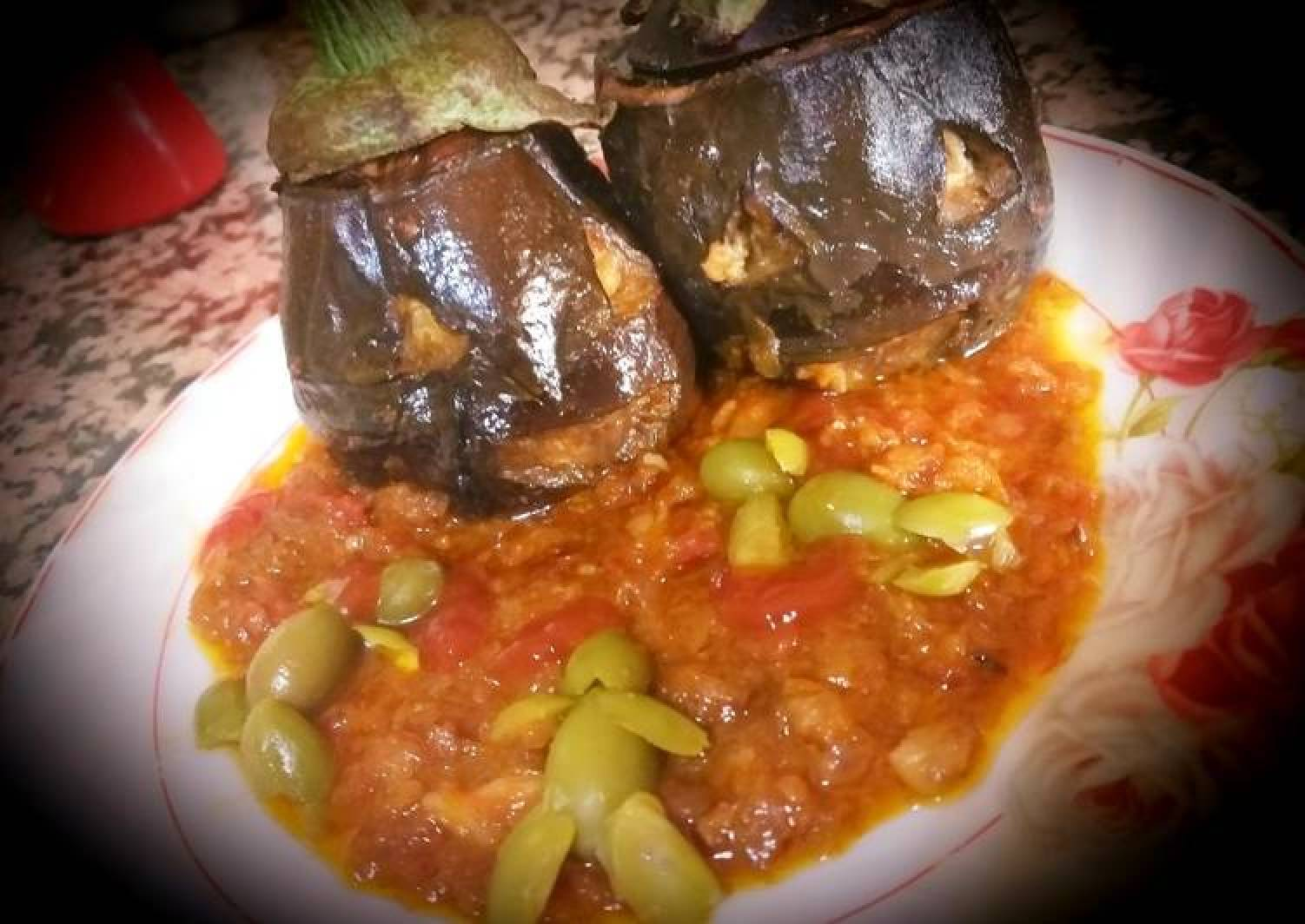 Eggplant stuffed with minced meat and cheese