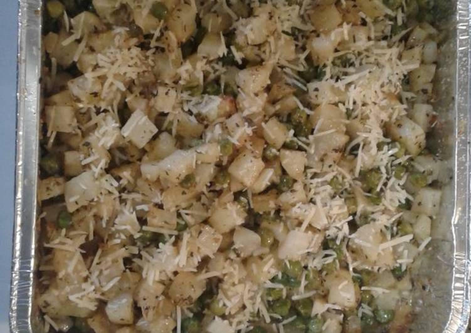 Roasted potatoes and peas