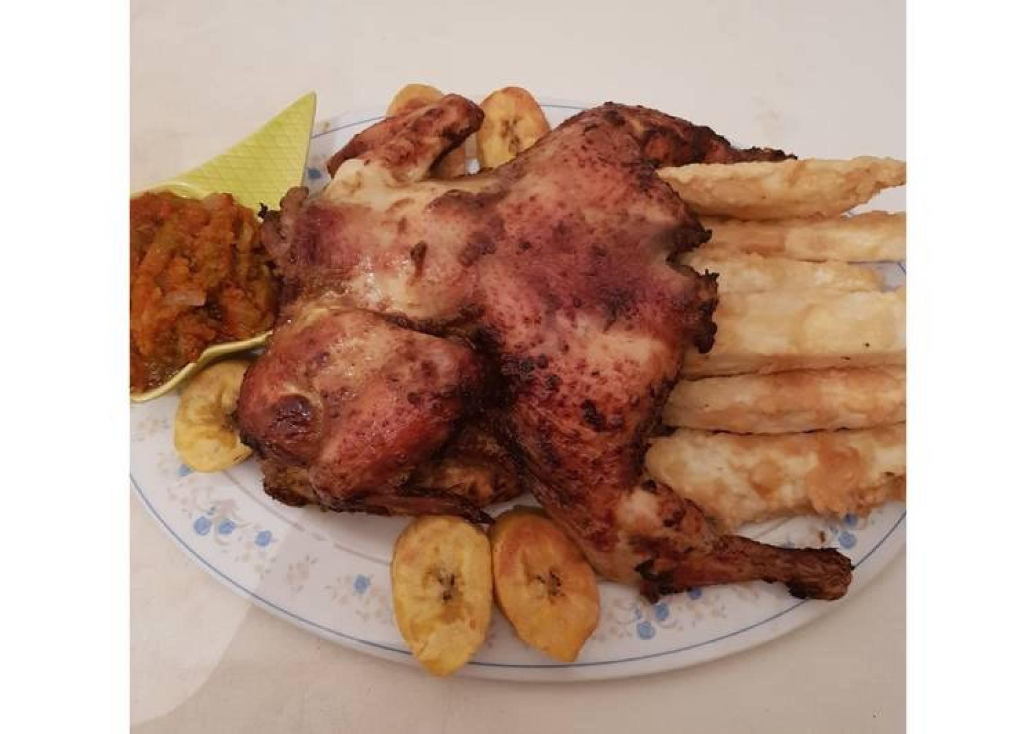 Yamarita,plantain and chicken peri peri