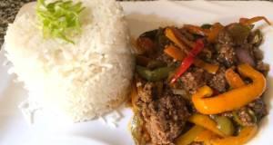 Jasmine rice and minced meat stir fry
