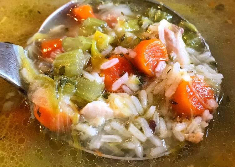 Chicken & Jasmine Rice Soup with Extra Garlic