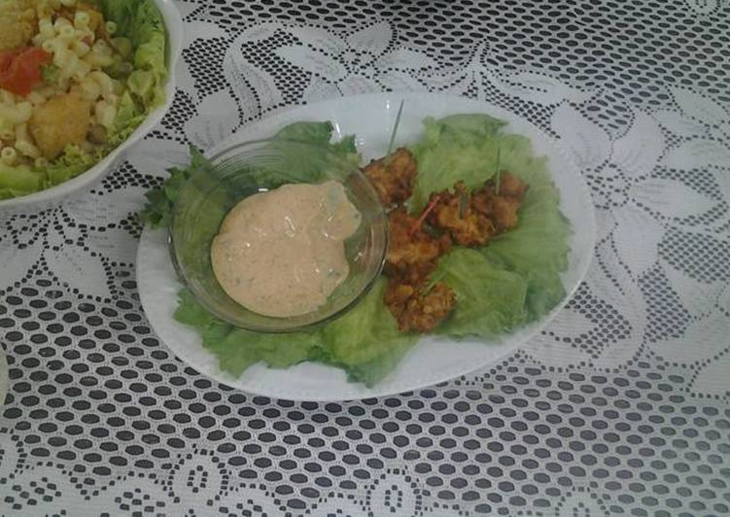 Popcorn chicken with Ramoulade sauce