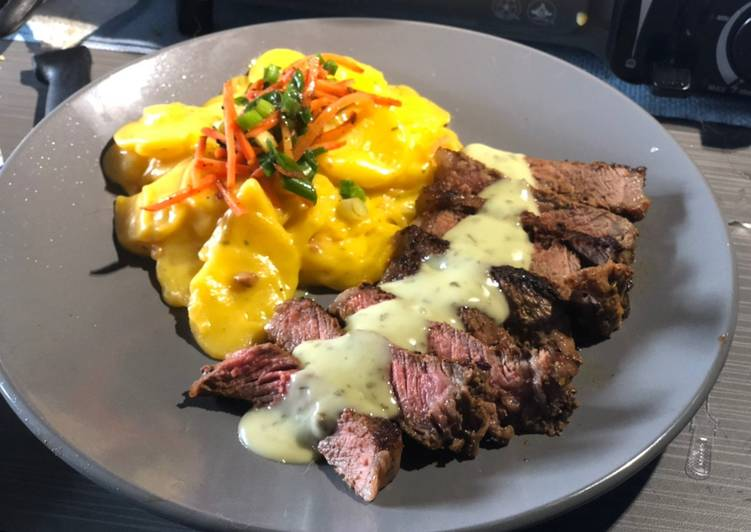 Seared Strip w/ Creamy Cilantro Lime Sauce & Scalloped Potatoes