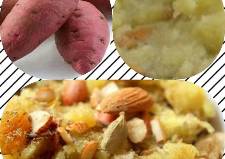 Recipe of Homemade Sweet potato halwa or shakarkand ka halwa (dhara kitchen recipe)
