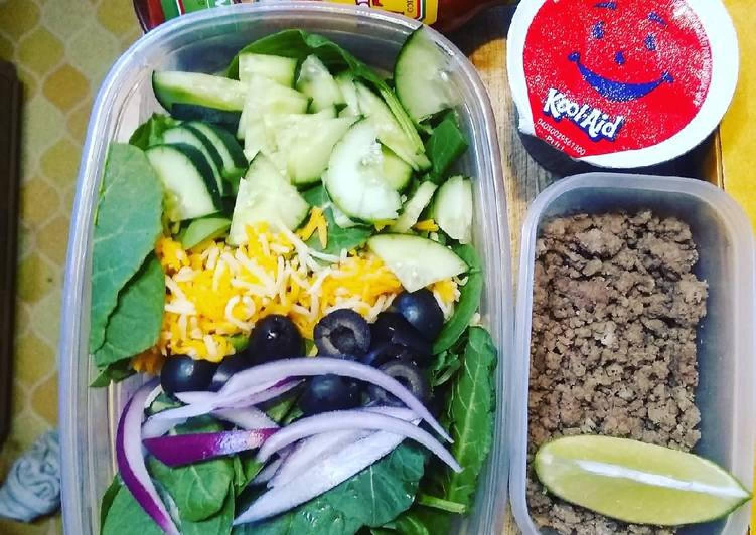 Lunchbox Taco salad prep