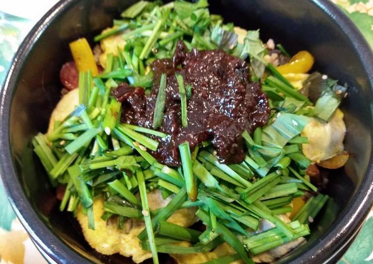 Oyster Chive Multigrain Bibimbap 牡蛎韭菜杂粮石锅拌饭