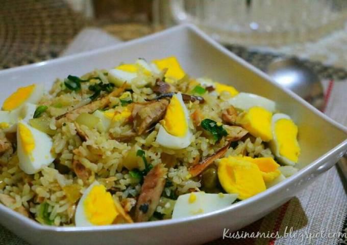 Stir Fried Rice with Smoked Mackerel