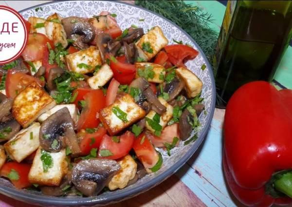 Типично мужской салат с жареной брынзой. Салат Алазани ...