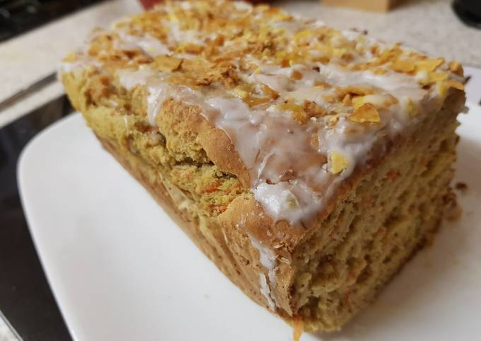 Step-by-Step Guide to Prepare Ultimate Carrot & Banana Cake topped with icing and Banana crisp. 😀