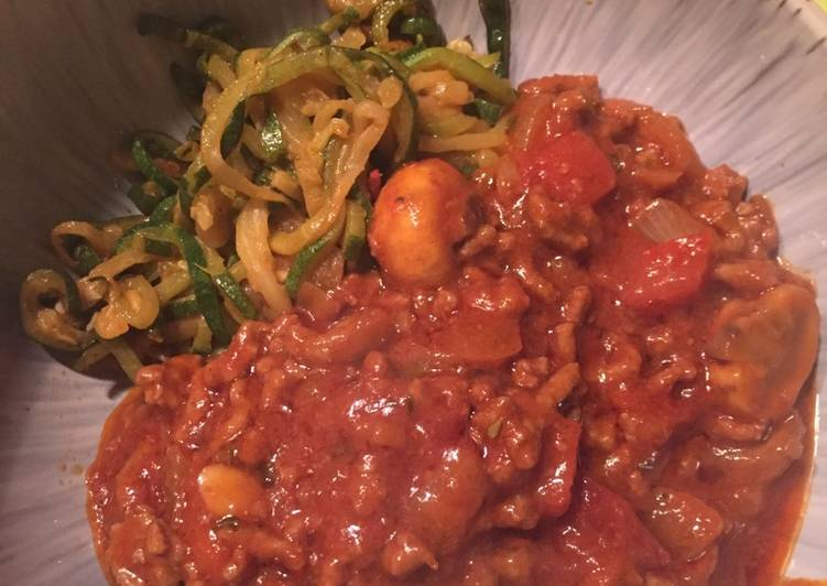 Low Carb Zucchini Noodles and Spaghetti Sauce