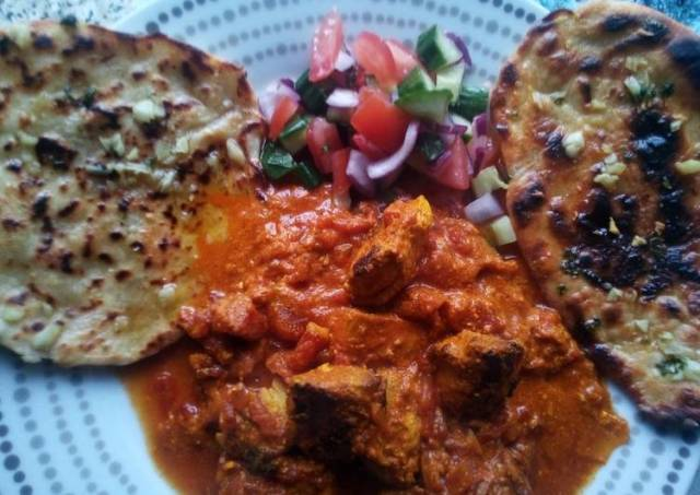 Chicken Tikka Masala with Garlic Flatbreads and Kachumber