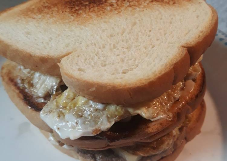 Peppered Beef, Eggs, and Cheese Sandwich
