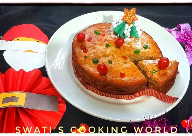 Wheat Flour Eggless Christmas Cake