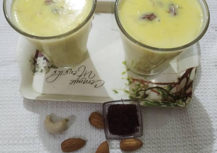 Recipe of Super Quick Homemade Winter delicacy kesar dry fruit milk