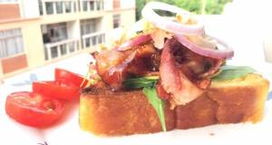 Bacon And Onion In BBQ Sauce Open Sandwich