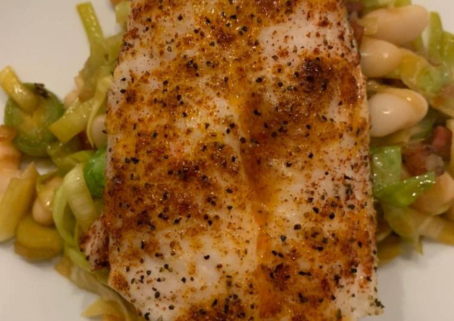 Easy Hake and Greens