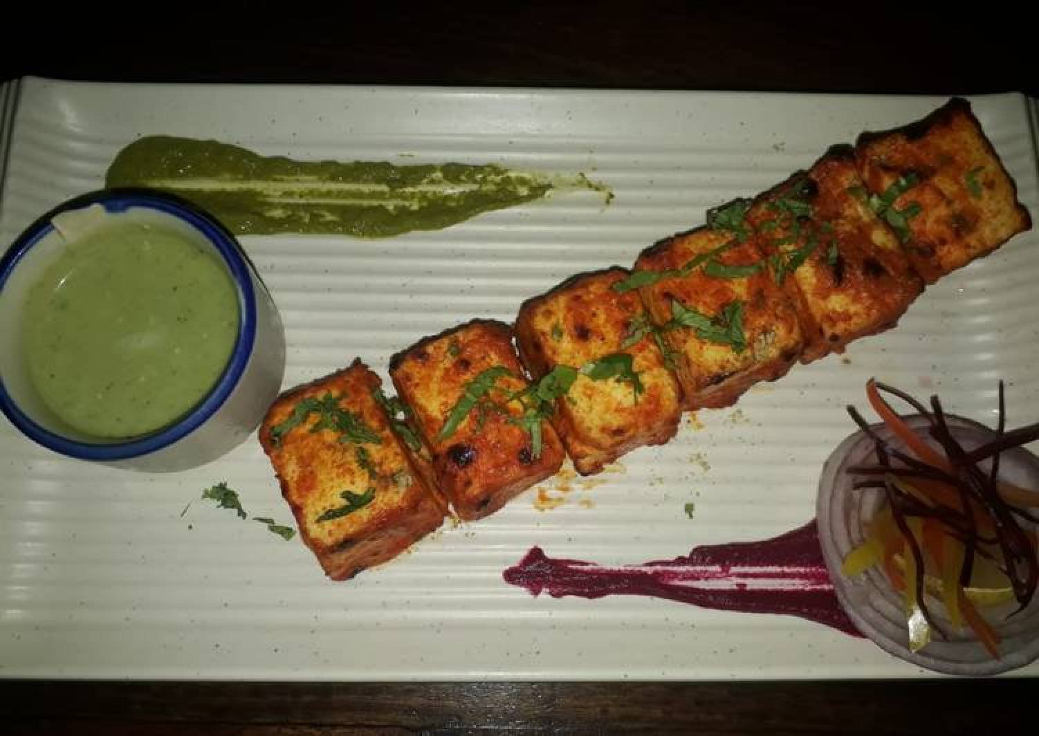 Lasanda paneer tikka with kimchi salad
