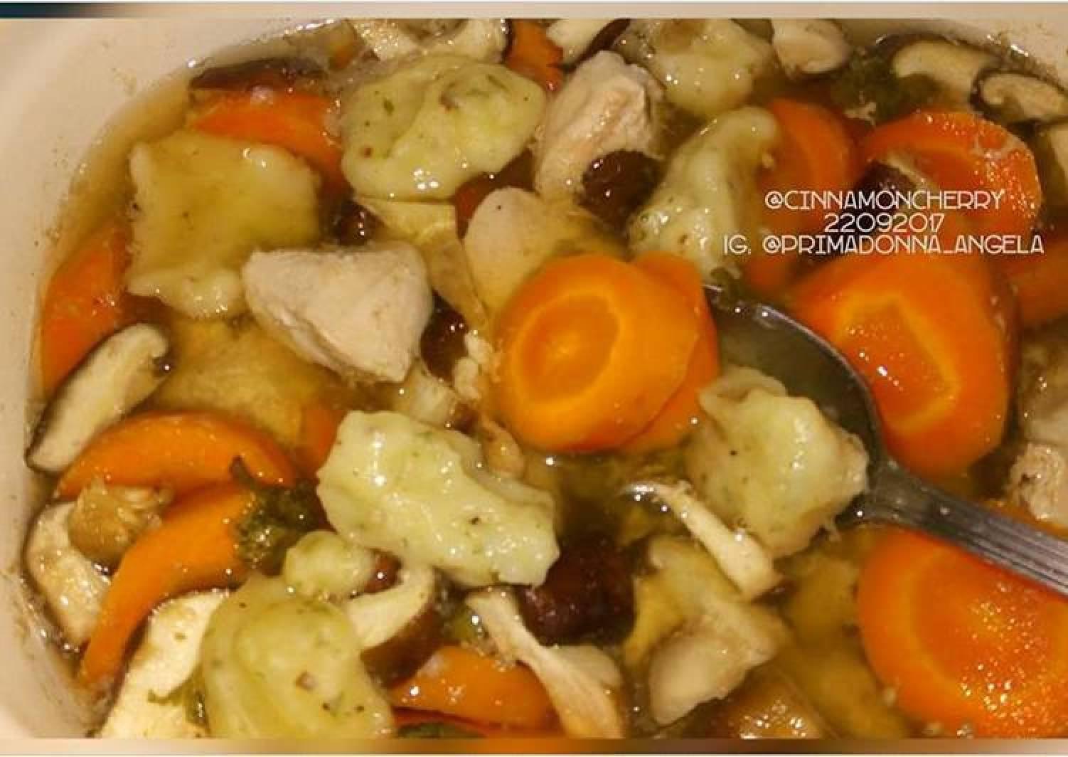 Chicken Clear Soup with Dumplings in Slow Cooker (Crock pot)