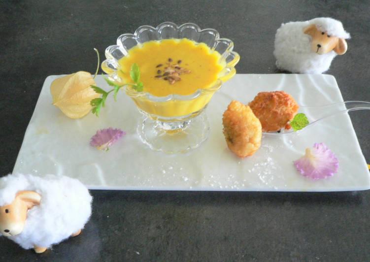Velouté de potimarron et ses bouchées de palourdes frites