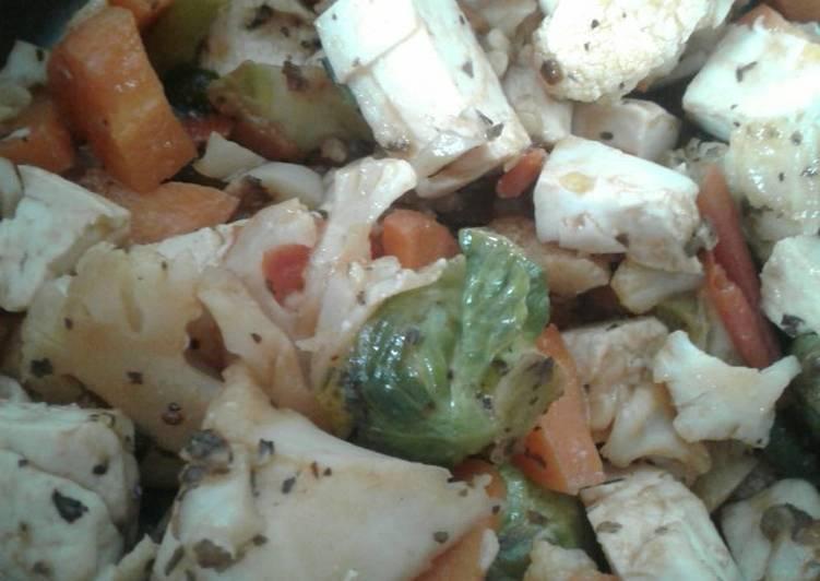 Mildly sweet n sour tofu salad