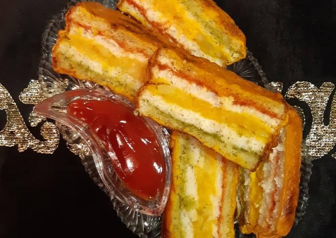 Steps to Make Favorite Tricolour Bread Pakoda