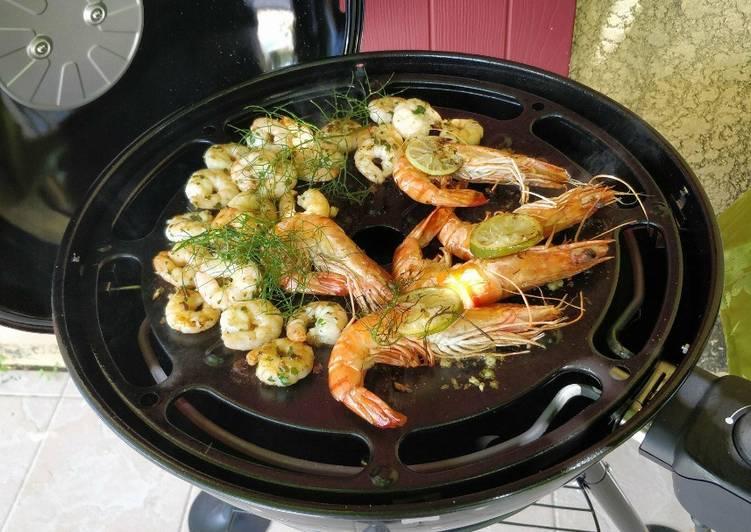 Gambas et crevettes marinées