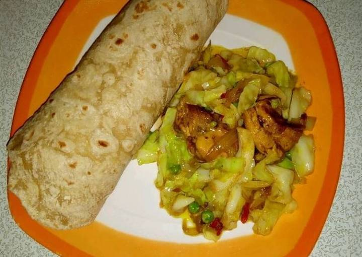 Indian roti with cabbage stir fry